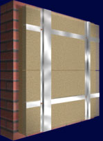 Система вентилируемых фасадов, крепление утеплителя, Вертикальный каркас