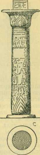 Рис. 9. Египетские колонны с растительными мотивами (А — колонна с мотивом лотоса, с сомкнутой капителью и пучкообразным стволом; В — колонна с мотивом папируса, с сомкнутой капителью и пучкообразным стволом; С — колонна с мотивом папируса, с раскрытой зонтичной капителью и круглым стволом)