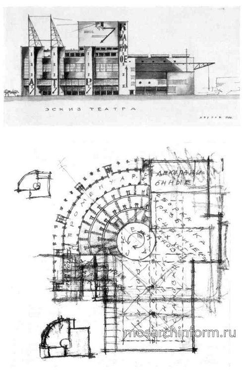 Советская архитектура конструктивизма - Театр массового действа на 2500 чел. Проект. 1924. Перспектива. Фасад. План