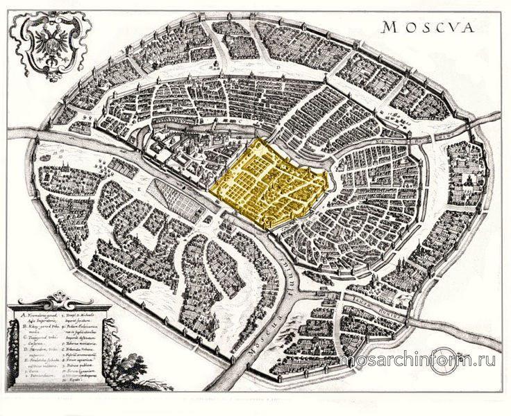 Территория Китай-города отмечена жёлтым цветом на плане Маттеуса Мериана. 1638