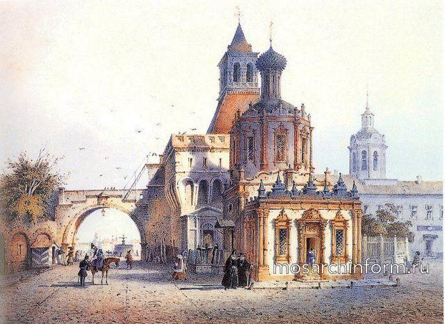 Владимирские (Никольские) ворота Китай-города и церковь Владимирской Божьей Матери, И. Вейс, 1852