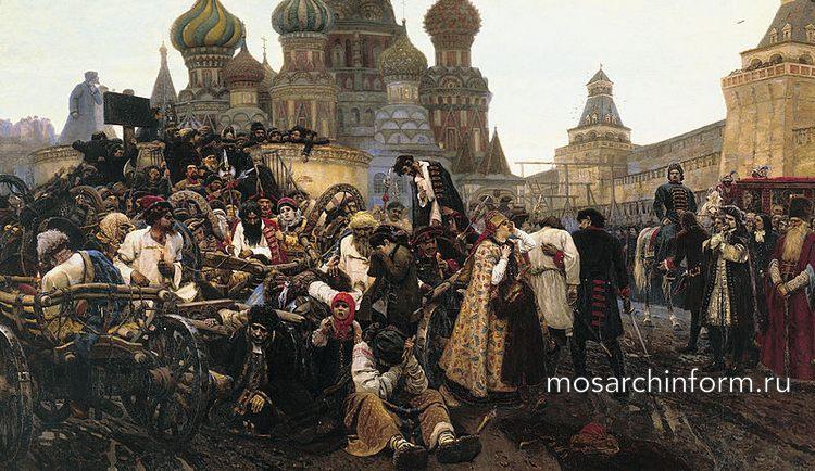 Казнь стрельцов Царём Петром I (справа на лошади) на Красной площади в 1698 году (нарисовано 1881 году).