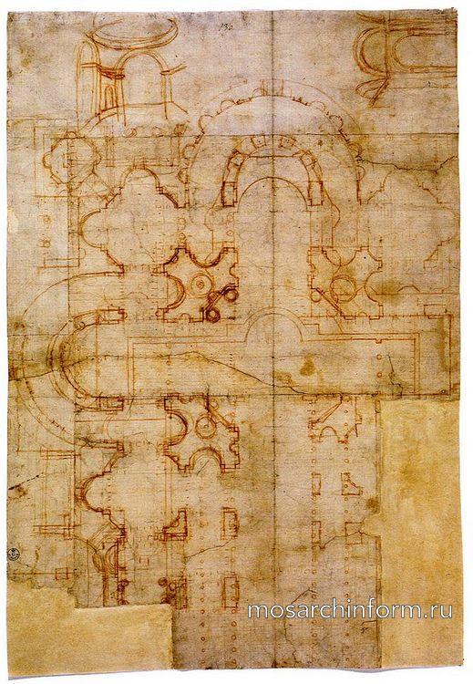 Эскиз собора Святого Петра наложеный на план древней базилики