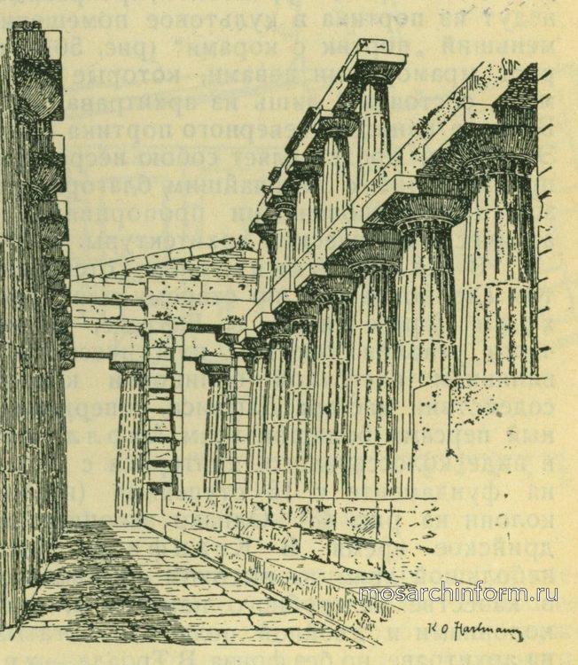 Внутренний вид храма Посейдона в Пестуме