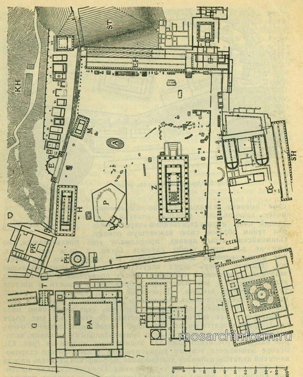 Альтис в Олимпии ( план ) Периоды, греческая архитектура