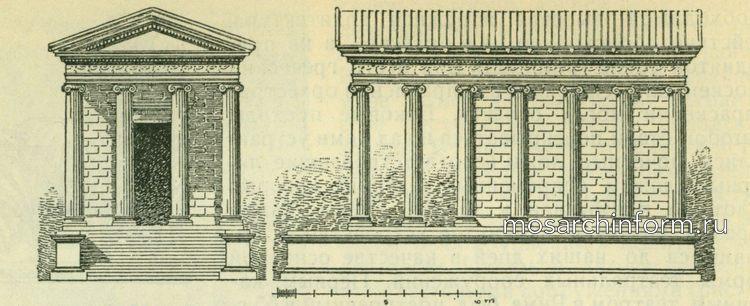 Передний и боковой фасады храма Фортуна Вирилис в Риме Римская архитектура