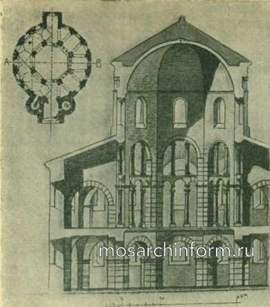 План и разрез дворцовой капеллы Карла Великого в Аахене