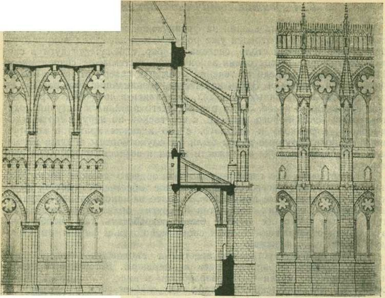 Внутреннее разрешение, поперечный разрез и наружное разрешение Реймского собора