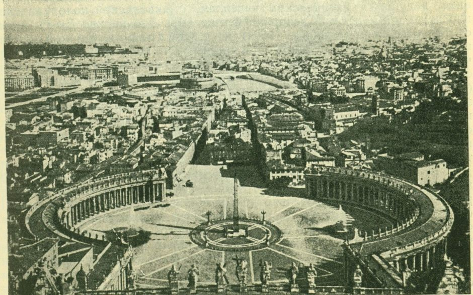Площадь Петра в Риме (вид с купола).