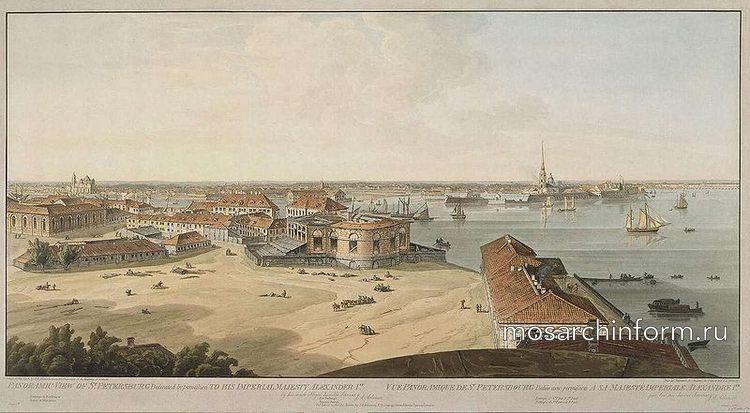 Панорамный вид стрелки Васильевского острова в С.-Петербурге, выполненный Дж. А. Аткинсоном в период 1805-1807 гг. Подпись (англ
