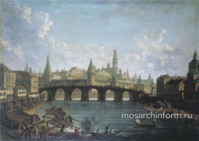 Алексеев Ф.Я. Вид на Московский Кремль со стороны Каменного моста - Архитектура Москвы 18 века